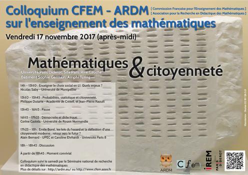 Colloquium CFEM-ARDM sur l'enseignement des mathématiques
